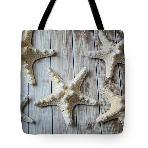 Five White Stars Tote Bag