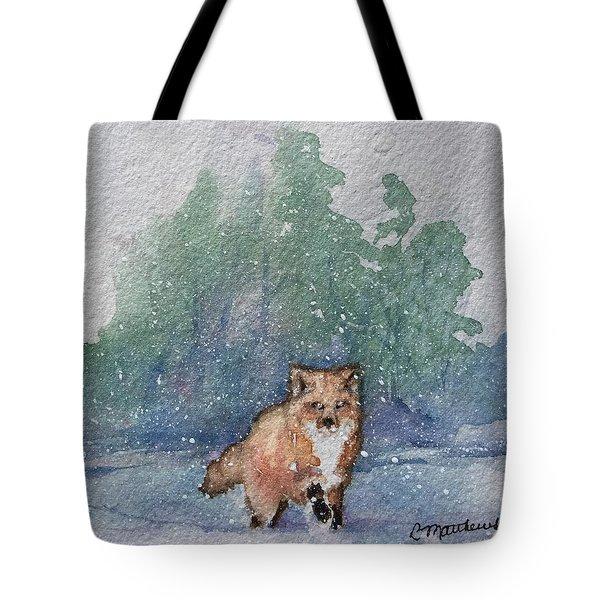 Fox In Snow Tote Bag