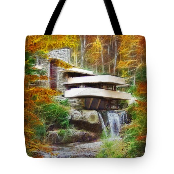 Fixer Upper - Frank Lloyd Wright's Fallingwater Tote Bag by John Robert Beck