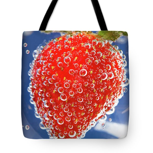 Fizzy Strawberry With Bubbles On Blue Background Tote Bag