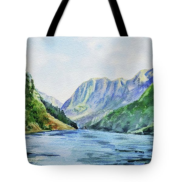 Fjord Of Norway Watercolor Landscape  Tote Bag