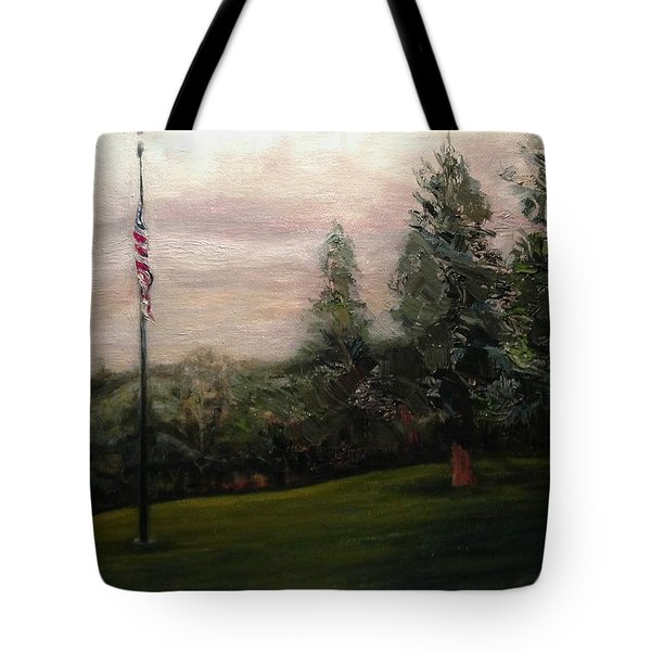 Tote Bag featuring the painting Flag Pole At Harborview Park by J Reynolds Dail