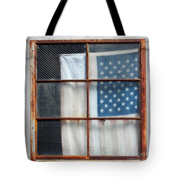 Flag In Old Window Tote Bag