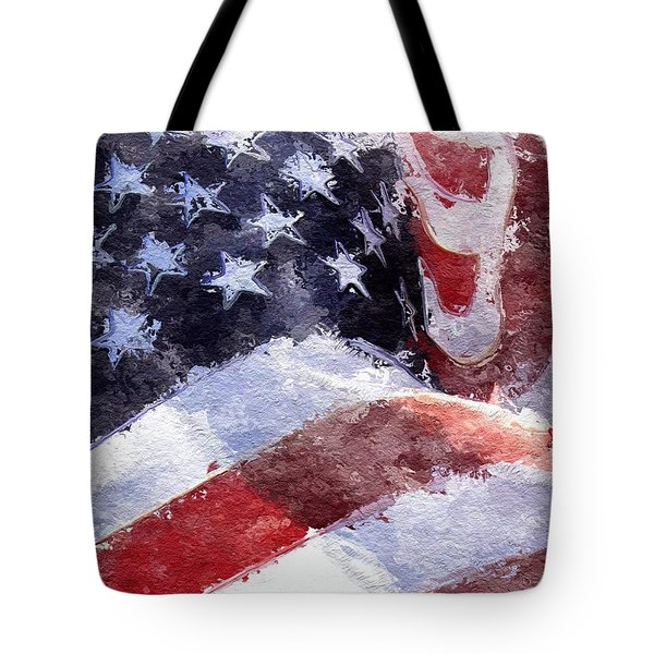 Tote Bag featuring the painting Flag by Mark Taylor