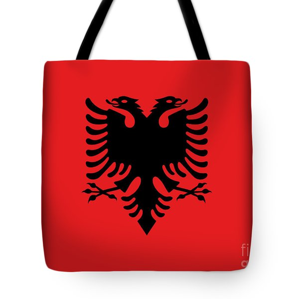 Tote Bag featuring the digital art Flag Of Albania Authentic Version by Bruce Stanfield