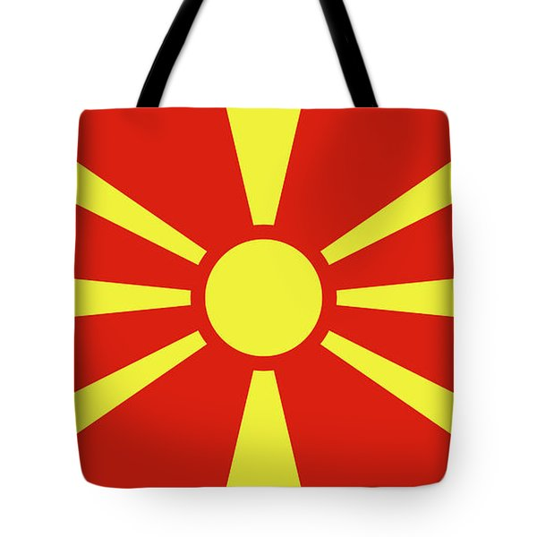 Tote Bag featuring the digital art Flag Of Macedonia by Bruce Stanfield