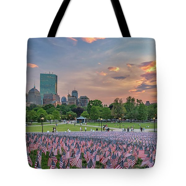 Flag Sunset On Boston Common Tote Bag