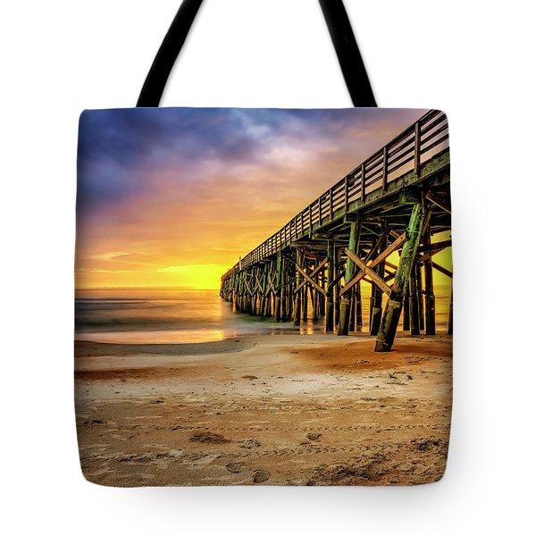 Flagler Beach Pier At Sunrise In Hdr Tote Bag