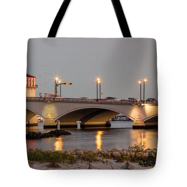 Flagler Bridge In Lights Iv Tote Bag