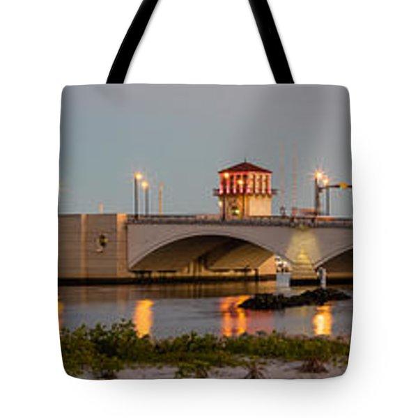 Flagler Bridge In Lights Panorama Tote Bag