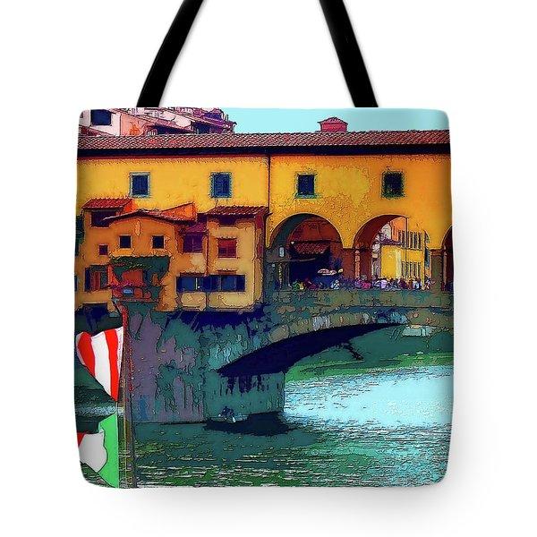 Flags At Ponte Vecchio Bridge Tote Bag