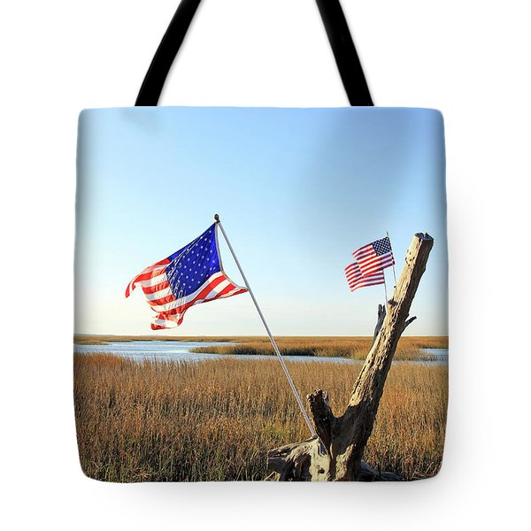 Flags Near Tybee Tote Bag