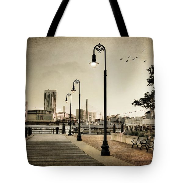 Tote Bag featuring the photograph Flagship Wharf - Boston Harbor by Joann Vitali