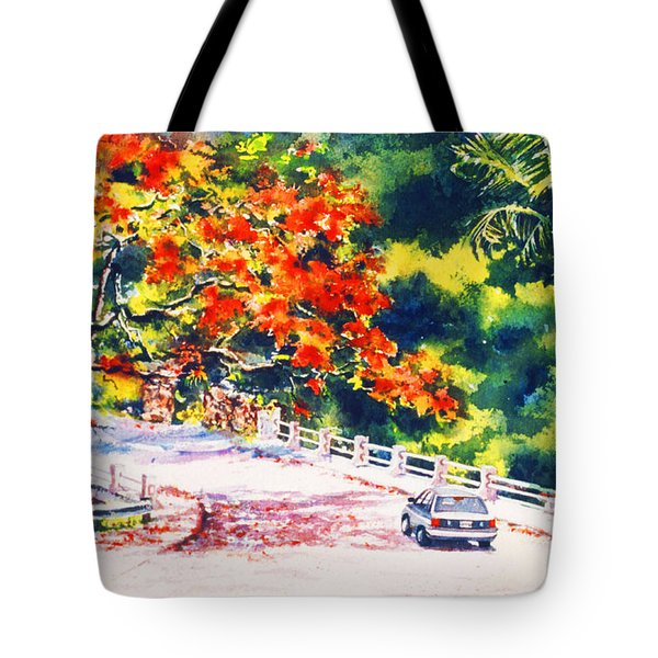 Flamboyant At Crashboat Beach Tote Bag by Estela Robles