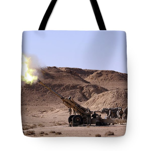 Flame And Smoke Emerge From The Muzzle Tote Bag by Stocktrek Images