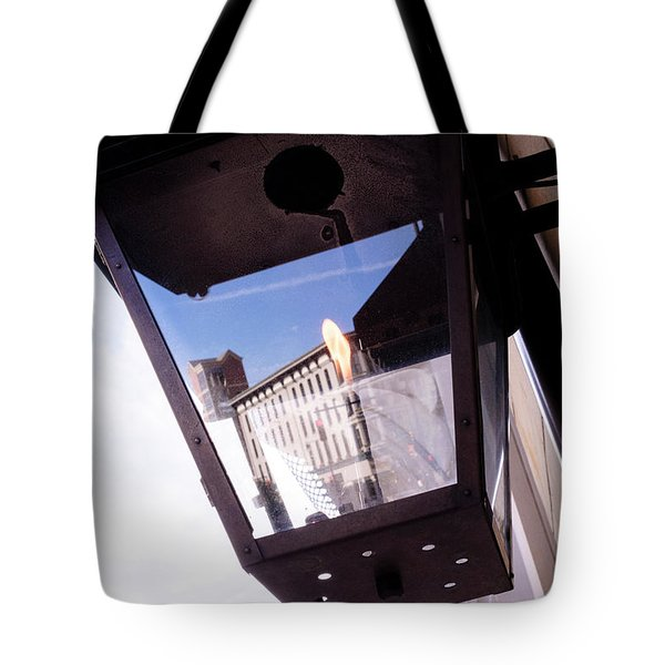 Flame In A Light Box Outdoors On The Street In Grand Rapids Michigan Tote Bag