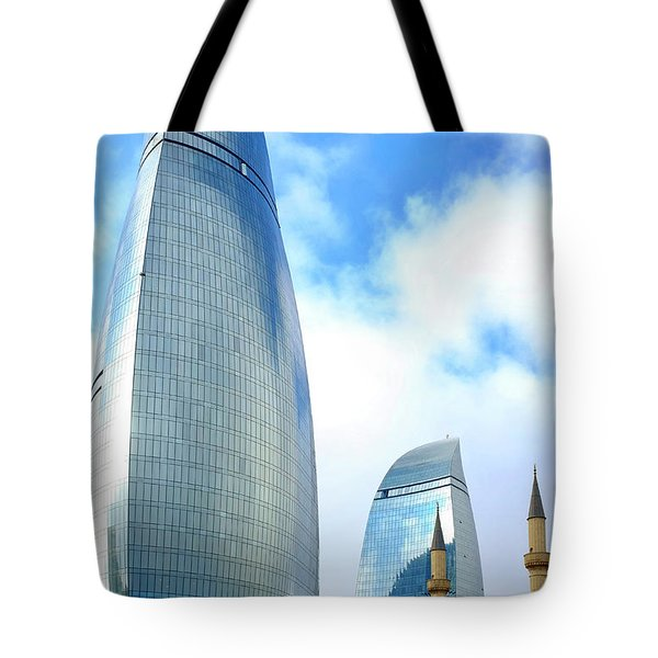 Tote Bag featuring the photograph Flame Towers And Shahids Mosque by Fabrizio Troiani