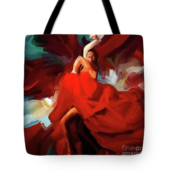 Tote Bag featuring the painting Flamenco Dance 7750 by Gull G