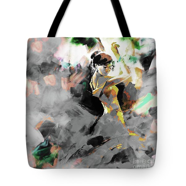 Tote Bag featuring the painting Flamenco Dance Art 7u7 by Gull G