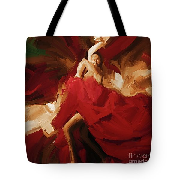 Tote Bag featuring the painting Flamenco Spanish Dance Painting 01 by Gull G