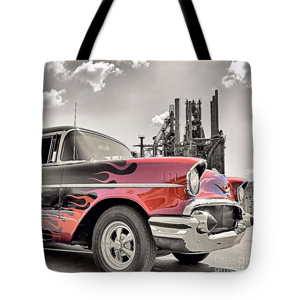Flamin' 57 Tote Bag by DJ Florek
