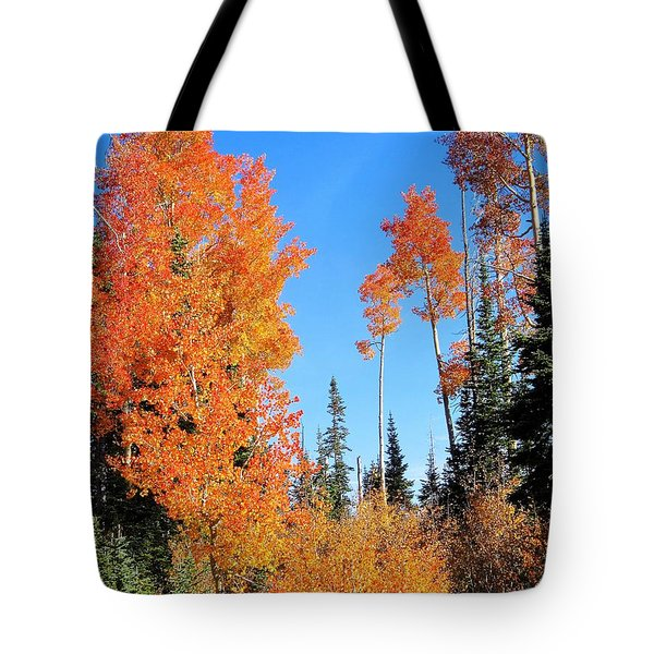 Tote Bag featuring the photograph Flaming Autumn Trees In Dixie National Forest Utah by Deborah Moen