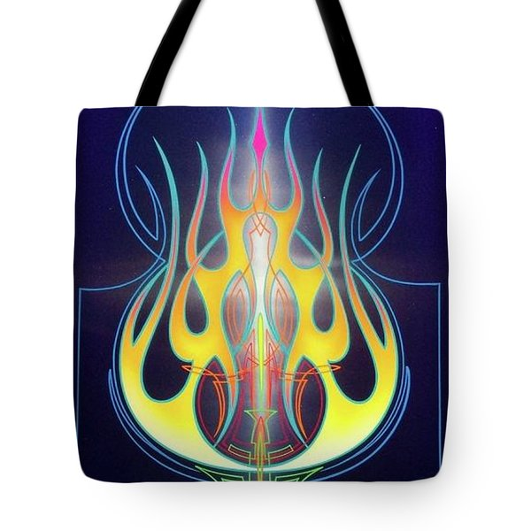 Flaming Bass Note Tote Bag