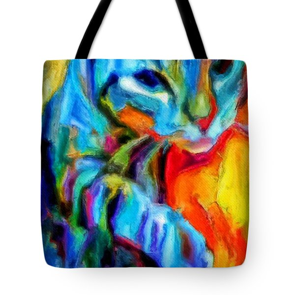 Flaming Blue And Orange Kitty Cat Tiger Resting Gently From The Prowl Tote Bag