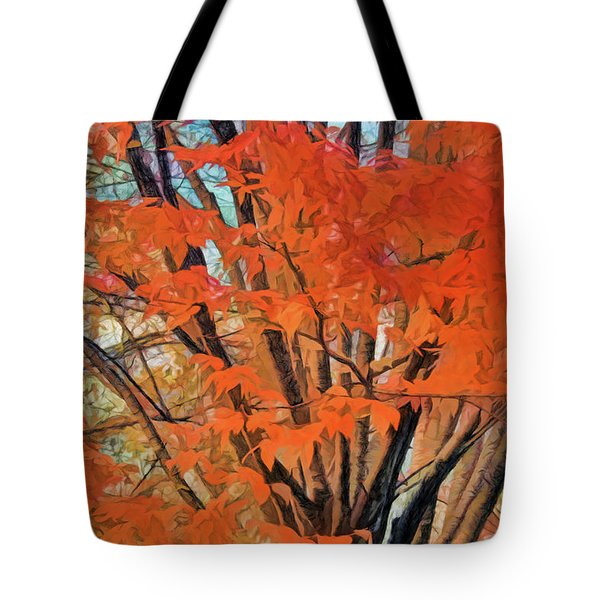 Flaming Fall Foliage Tote Bag
