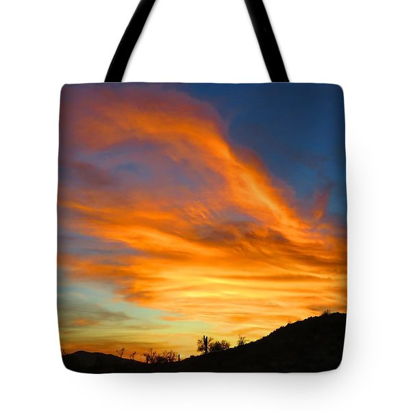 Flaming Hand Sunset Tote Bag