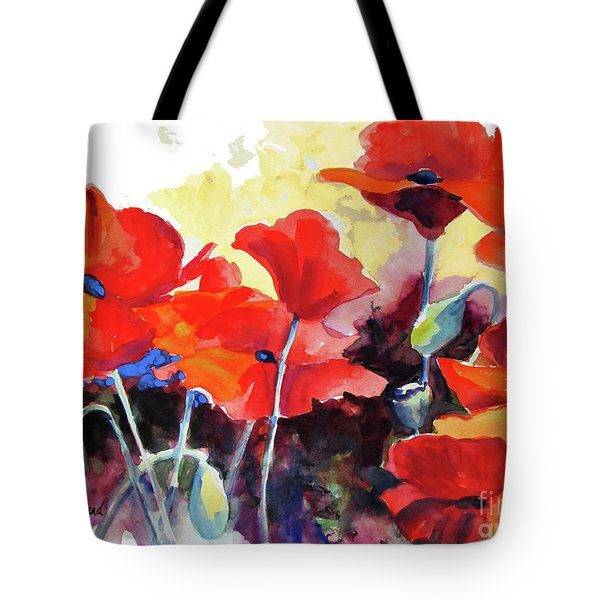 Tote Bag featuring the painting Flaming Poppies by Kathy Braud
