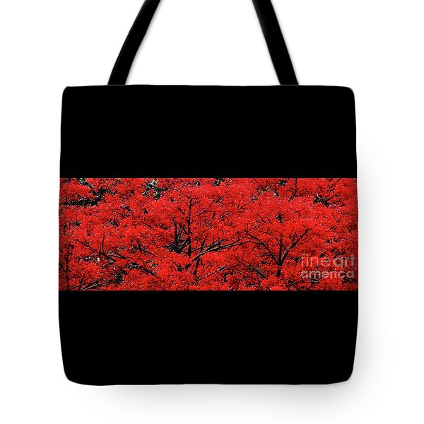 Tote Bag featuring the photograph Flaming Red Panorama II By Kaye Menner by Kaye Menner