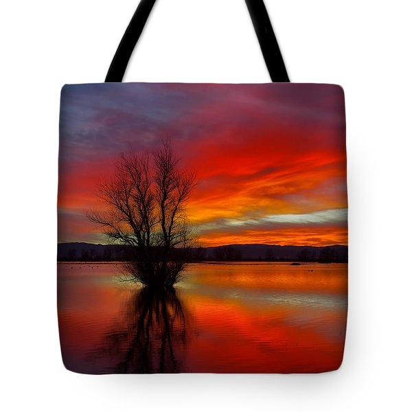 Flaming Reflections Tote Bag