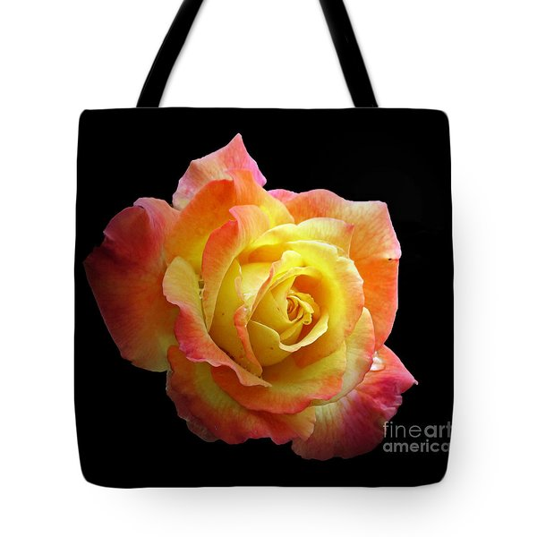 Flaming Rose On Black Tote Bag by Chris Anderson