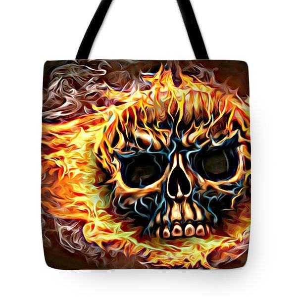 flaming skull Punk Gothic Biker Art Tote Bag