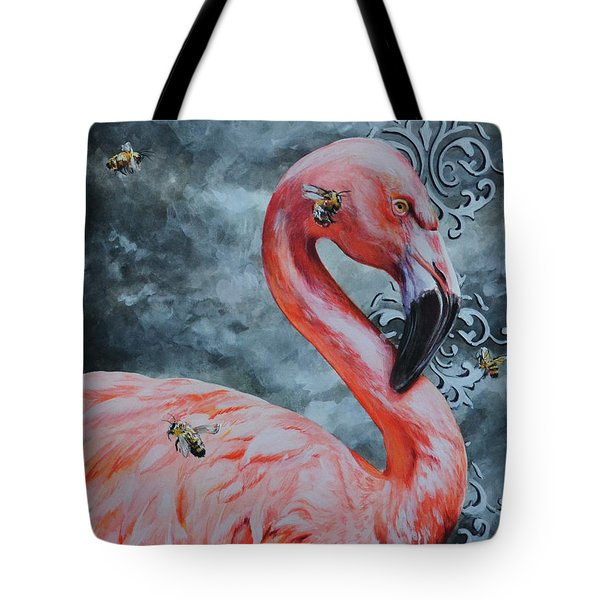 Flamingo And Bees Tote Bag