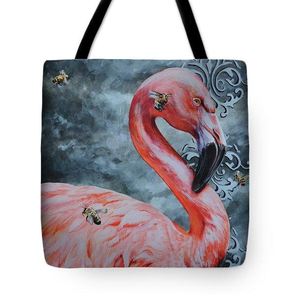 Flamingo And Bees Tote Bag