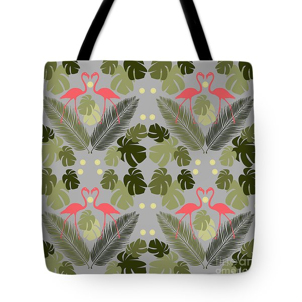 Flamingo And Palms Tote Bag