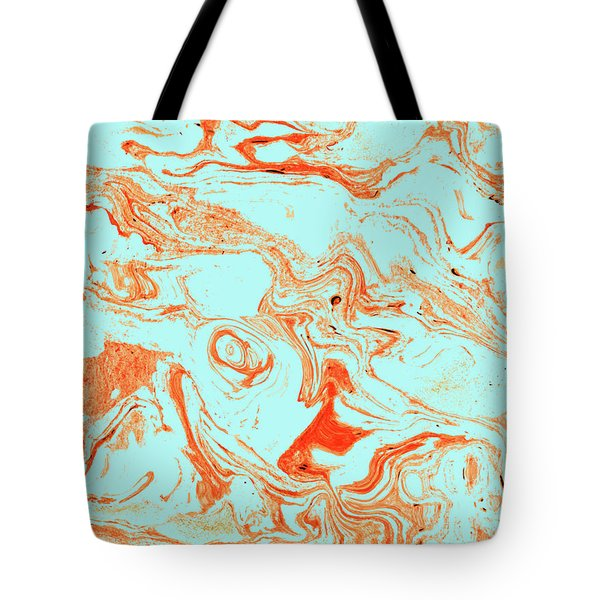 Flamingo And Sea Marble Tote Bag by Uma Gokhale
