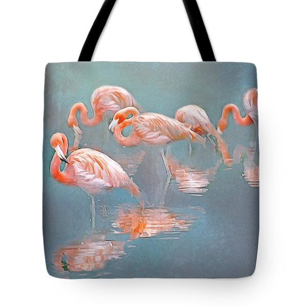 Flamingo Blues Tote Bag