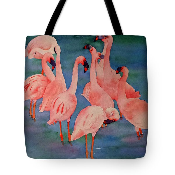 Flamingo Convention In The Square Tote Bag by Judy Mercer