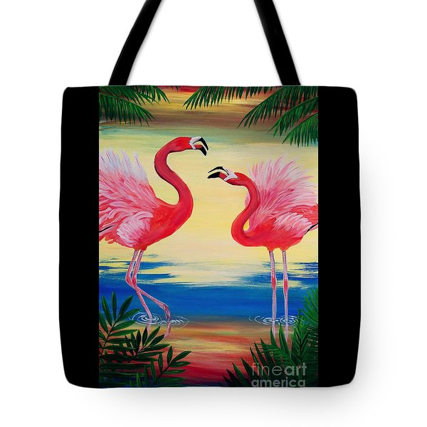 Tote Bag featuring the painting Flamingo Courtship Dance by Patricia L Davidson