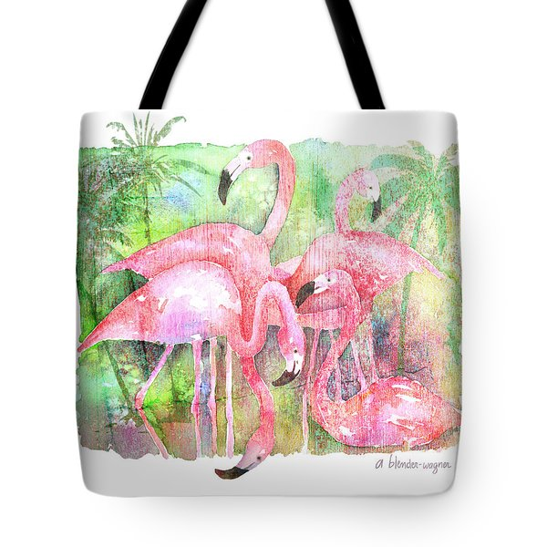 Flamingo Five Tote Bag by Arline Wagner