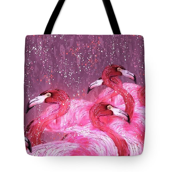 Flamingo Frenzy Tote Bag by Barbara Chichester