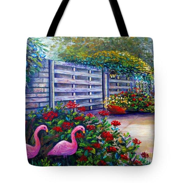 Flamingo Gardens Tote Bag by Lou Ann Bagnall