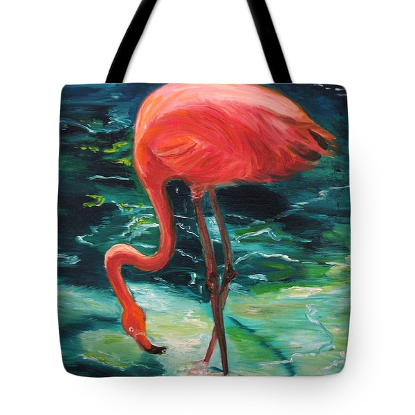 Tote Bag featuring the painting Flamingo Of Homasassa by Patricia Arroyo