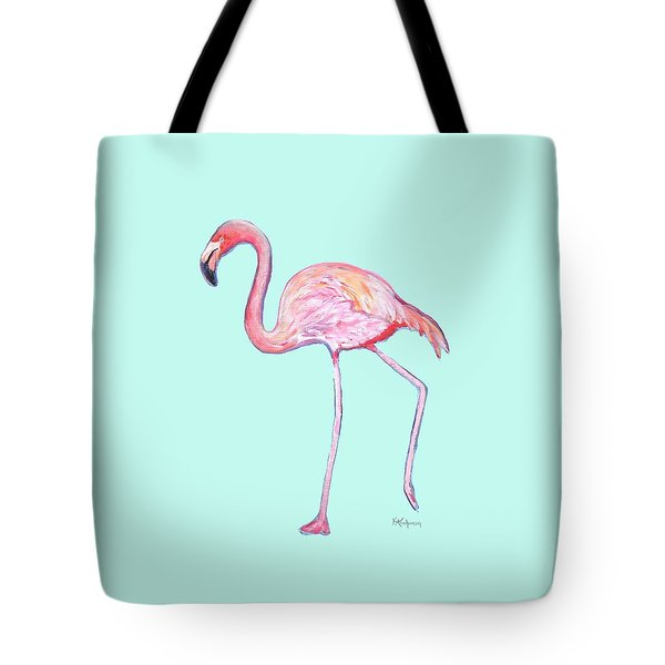 Flamingo On Mint Background Tote Bag