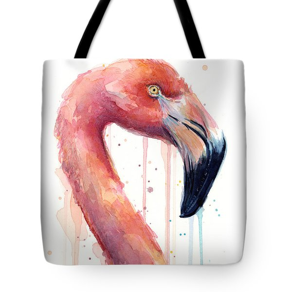 Flamingo Painting Watercolor - Facing Right Tote Bag by Olga Shvartsur