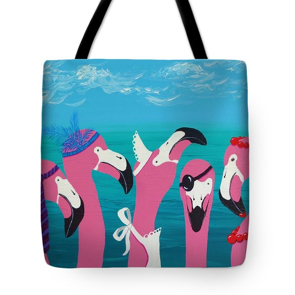 Tote Bag featuring the painting Flamingo Party by Katherine Young-Beck