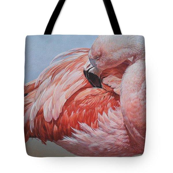 Flamingo Preening Tote Bag